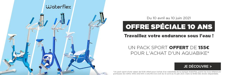 Offre Waterflex pour un achat d'un Aquabike : Un pack sport offert du 10 avril au 10 juin 2021