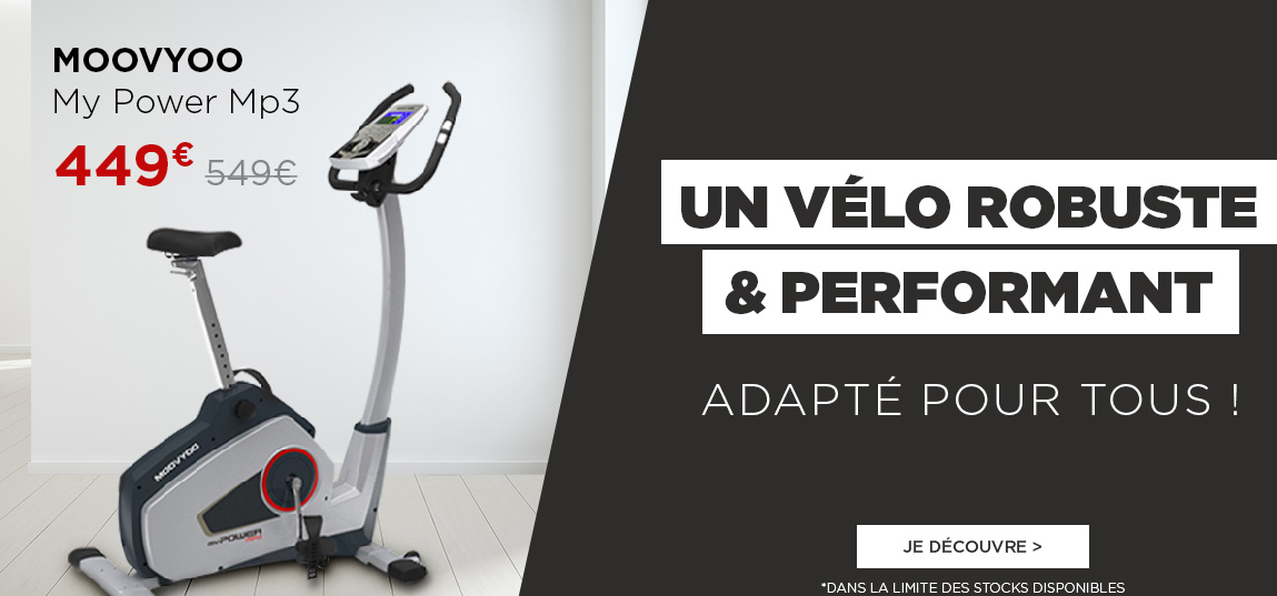 https://ahead.fitnessboutique.fr/Vélo d'Appartement My Power Mp3 MOOVYOO